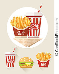 French fries and soda in paper cup