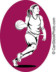 Basketball woman player dribbling - Illustration of...