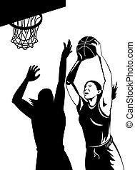 Woman basketball player shooting ball - Illustration of...