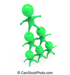 3d Little green men make a pyramid - 3d render of little...