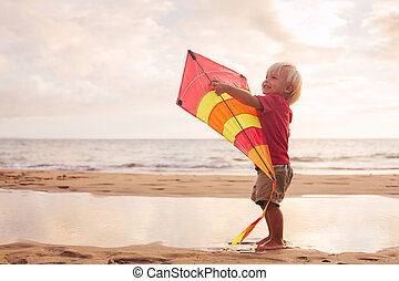 Young boy playing with kite - Happy young boy playing with...