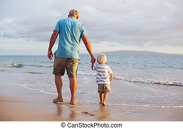 Father and son wallking on the beach - Happy father and son...