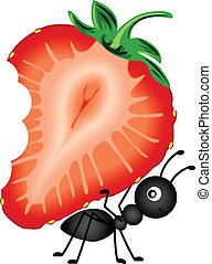 Ant Carrying Strawberry Sliced - Scalable vectorial image...