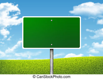 Crossroads road sign. Green grass and blue sky as backdrop