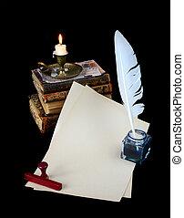Still life with vintage writing instruments - Still life...