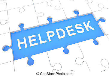 Helpdesk - puzzle 3d render illustration with word on blue...