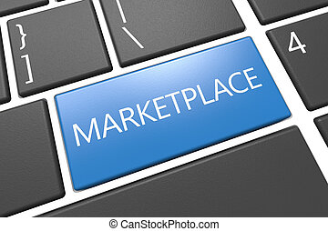 Marketplace - keyboard 3d render illustration with word on...