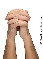 dois, orando, mãos, isolado, branca
