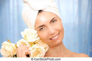 beauty treatment - close-up beautiful young woman in spa