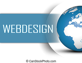 Webdesign concept with globe on white background