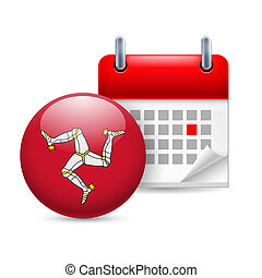 Icon of National Day on Isle of Man - Calendar and round...