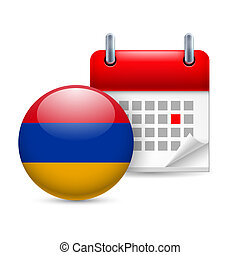 Icon of National Day in Armenia - Calendar and round...