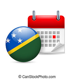 Icon of National Day in Solomon Islands - Calendar and round...