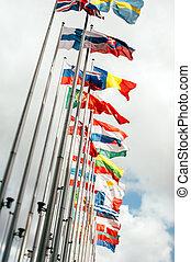 European Union Parliament all countries flags - European...