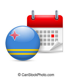 Icon of National Day in Aruba - Calendar and round Aruban...