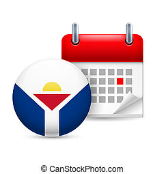 Icon of National Day in Saint Martin - Calendar and round...