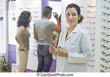 Optical store, people and lenses