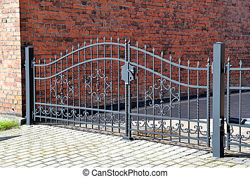 Forged iron gate outdoor, black grey fence. - Forged iron...
