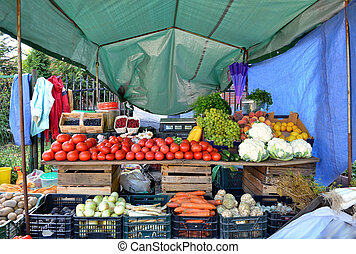 Fresh and organic vegetables at farmers market.