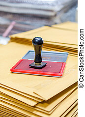 Ink pad and wooden rubber stamp