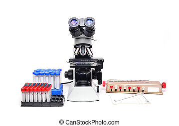 microscope with laboratory equipment on white background