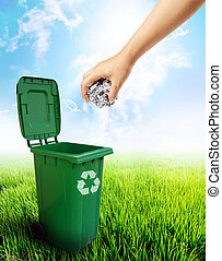 Green plastic trash recycling container ecology concept. -...