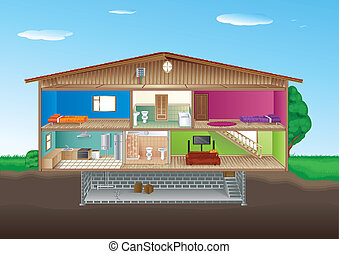 House Interior - A cross section of a house