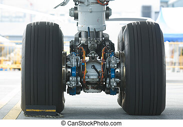Rear landing gear of wide-body airplane - Rear landing gear...