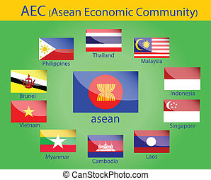 Asean flags - flags of AEC, asean economic community,...