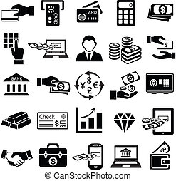 finance money icon set, exchange, bank, gold, business man,...