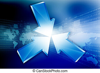 3D Arrows on abstract background