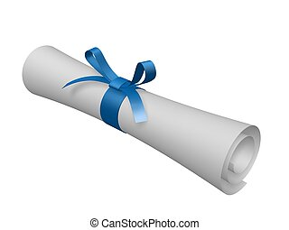 certificate scroll with blue ribbon isolated on white...