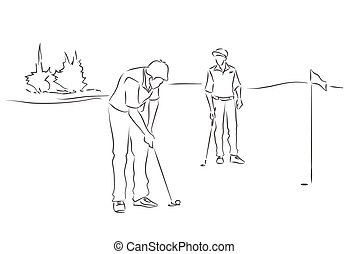 Friends play golf - Two young men are playing golf Black and...