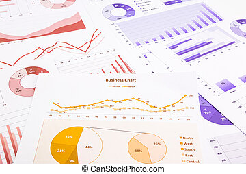 business charts, data analysis, marketing report and...