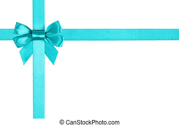 turquoise blue ribbon bow for packaging, white background