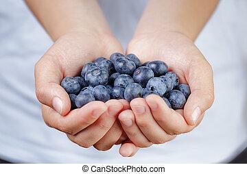 female teen hands holding ripe blueberries, shallow dof