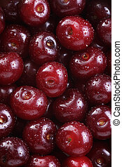 ripe washed cherries close up, organic food background