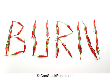 the word burn made with hot chilli
