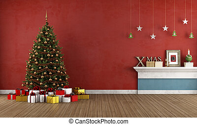 Old red room with christmas tree - Red room with christmas...