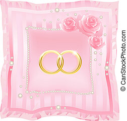 Wedding rings on a pink background
