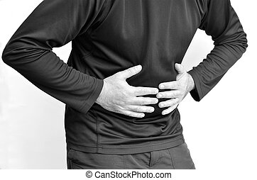 Man with stomach pain standing against white background....