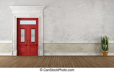 Retro vintage entrance with red front door and stone...