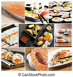 sushi collage - collage various types of japanese sushi and...