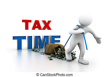Man pull moneytax time concept