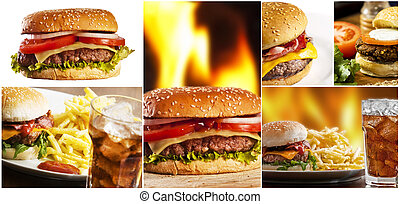 fast food - Hamburger collage with several burgers
