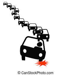 flat tire illustration - commuter with flat tire in traffic...