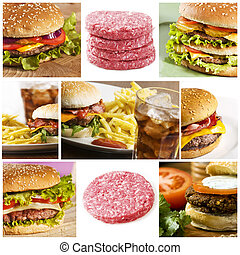 fast food collage - Fastfood collage with lots of hamburgers