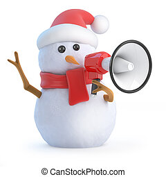 3d Santa snowman with megaphone - 3d render of a snowman...