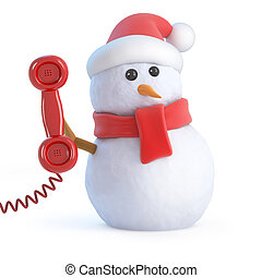 3d Santa snowman answers the phone - 3d render of a snowman...