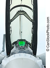 Front view of fighter jet cockpit